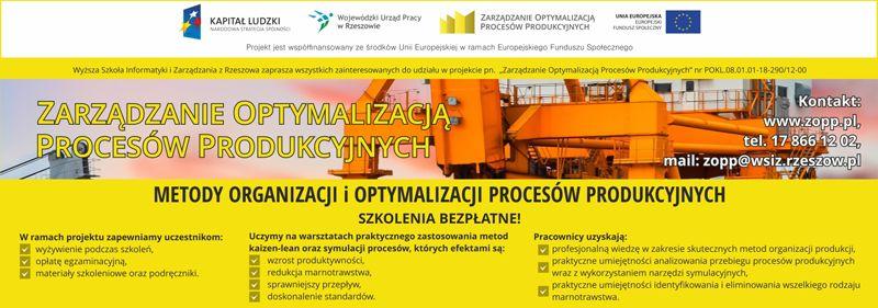 Zarządzanie Optymalizacją Procesów Produkcyjnych - szkolenia bezpłatne