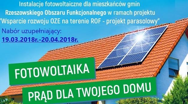 Instalacje fotowoltaiczne dla mieszkanców gmin Rzeszowskiego Obszaru Funkcjonalnego. Nabór uzupełniający wniosków