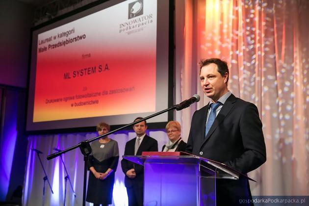Nagrodę w kategorii małych przedsiębiorstw otrzymała firma ML System. Na zdjęciu Dawid Cycoń, prezes firmy. Fot. RARR