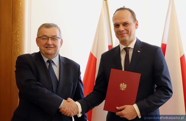Minister Andrzej Adamczyk i Rafał Weber